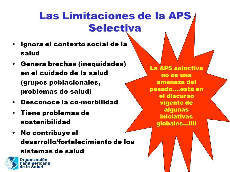 Organización Panamericana de la Salud Las Limitaciones de la APS Selectiva Ignora el contexto social de la salud Genera brechas (inequidades) en el cu