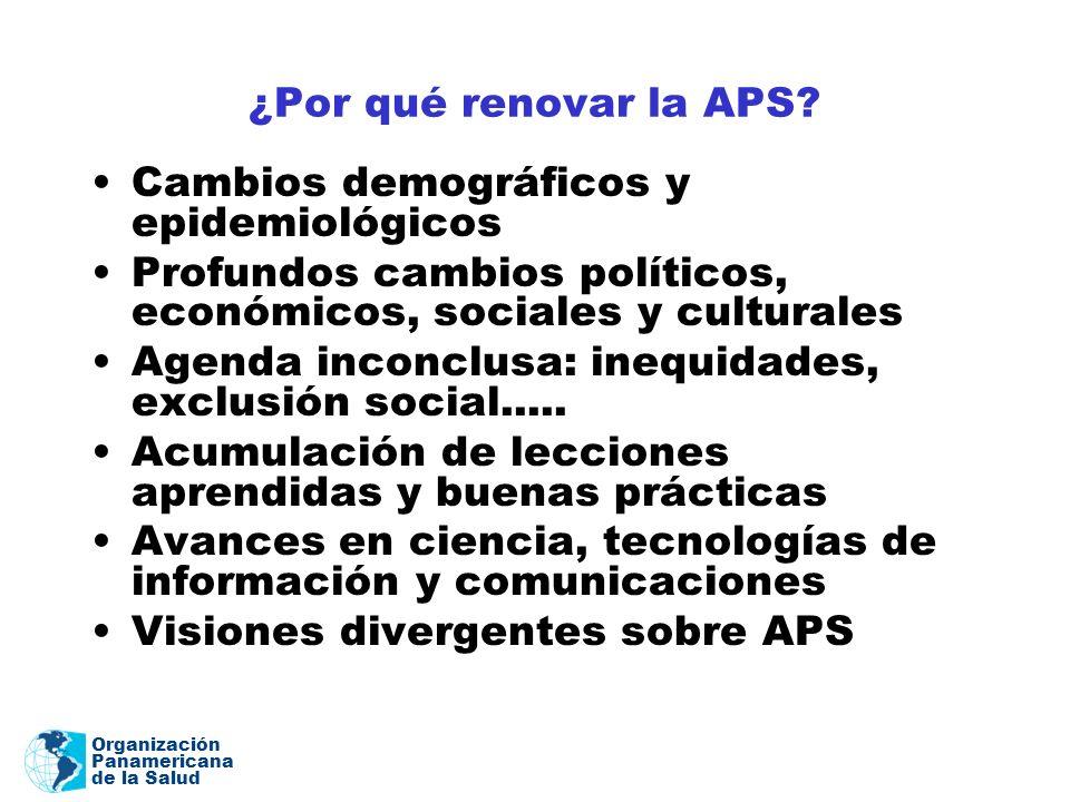 Organización Panamericana de la Salud ¿Por qué renovar la APS? Cambios demográficos y epidemiológicos Profundos cambios políticos, económicos, sociale