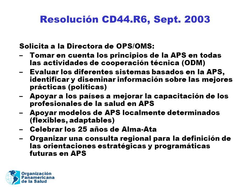 Organización Panamericana de la Salud Resolución CD44.R6, Sept. 2003 Solicita a la Directora de OPS/OMS: –Tomar en cuenta los principios de la APS en