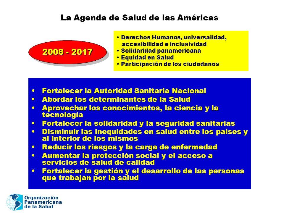 Organización Panamericana de la Salud La Agenda de Salud de las Américas Fortalecer la Autoridad Sanitaria Nacional Abordar los determinantes de la Sa