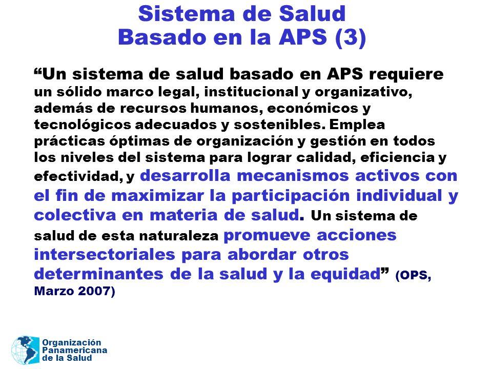 Organización Panamericana de la Salud Sistema de Salud Basado en la APS (3) Un sistema de salud basado en APS requiere un sólido marco legal, instituc