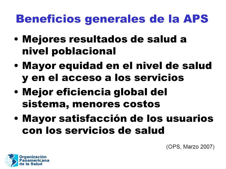 Organización Panamericana de la Salud Beneficios generales de la APS Mejores resultados de salud a nivel poblacional Mayor equidad en el nivel de salu