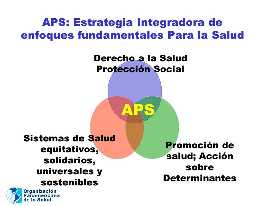 Organización Panamericana de la Salud APS: Estrategia Integradora de enfoques fundamentales Para la Salud Derecho a la Salud Protección Social Promoci