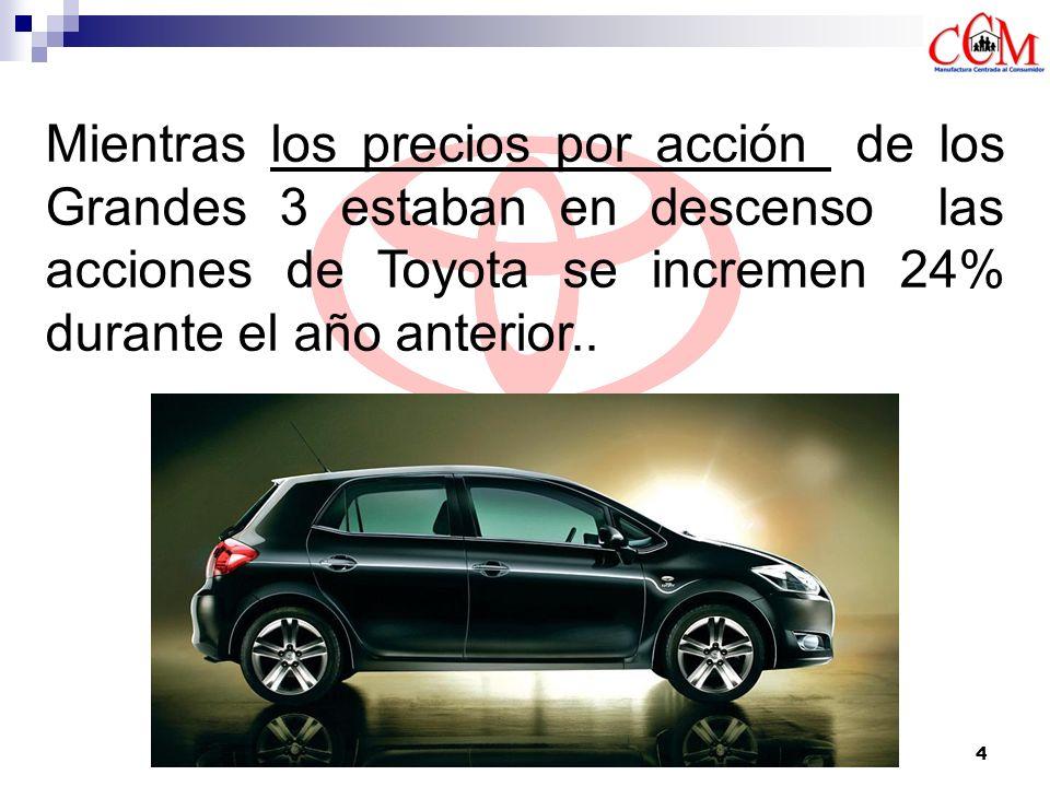 5 Toyota vendió mas vehículos en Norte América que cualquiera de los fabricantes de automóviles que forman parte de los Grandes 3 (Chrysler)