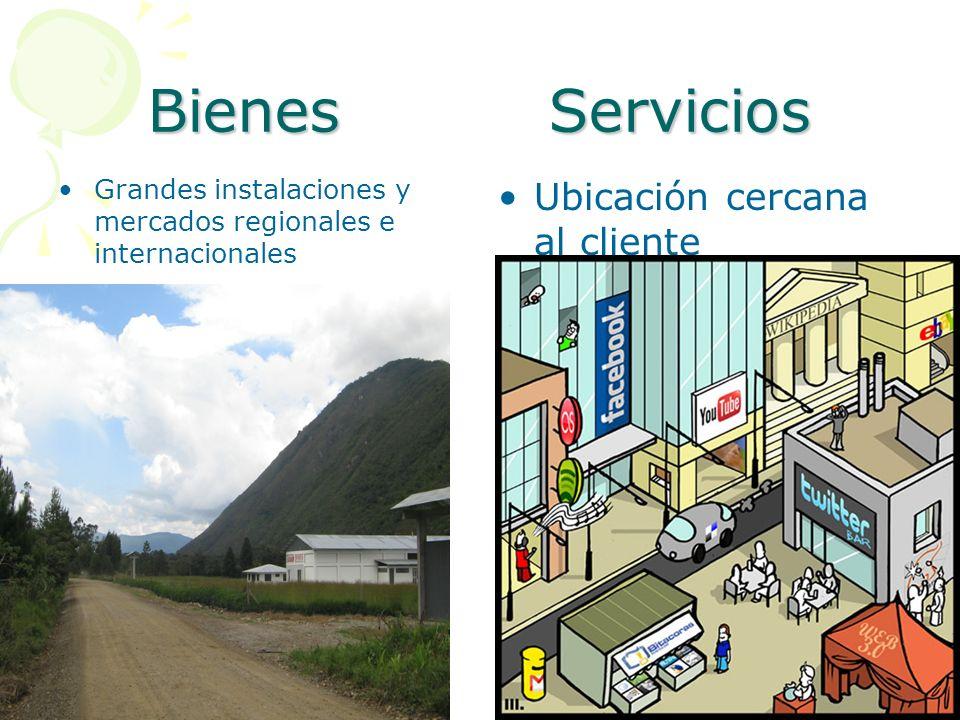 Bienes Servicios Grandes instalaciones y mercados regionales e internacionales Ubicación cercana al cliente