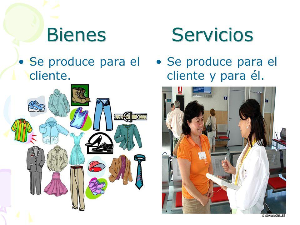 Bienes Servicios Se produce para el cliente. Se produce para el cliente y para él.
