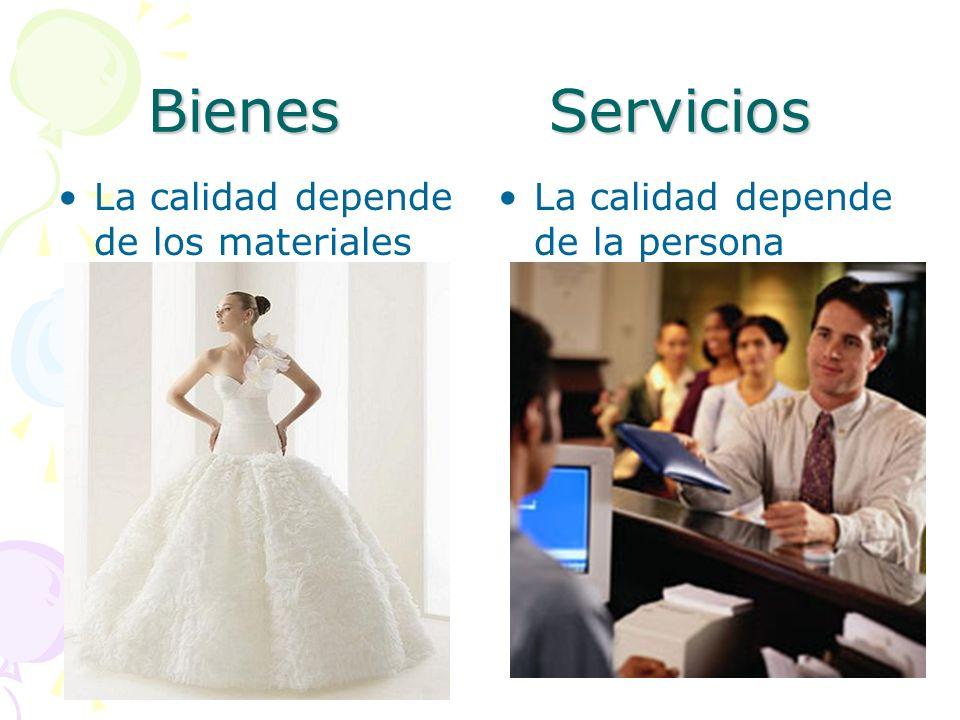 Bienes Servicios La calidad es inherente al producto La calidad es inherente al proceso