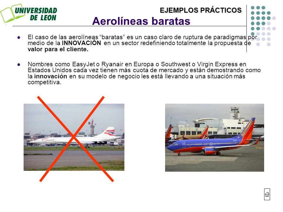 Aerolíneas baratas El caso de las aerolíneas baratas es un caso claro de ruptura de paradigmas por medio de la INNOVACIÓN en un sector redefiniendo to