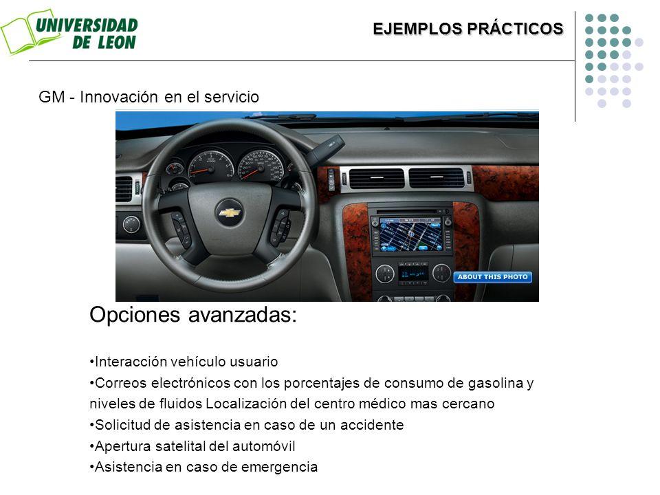 Opciones avanzadas: Interacción vehículo usuario Correos electrónicos con los porcentajes de consumo de gasolina y niveles de fluidos Localización del
