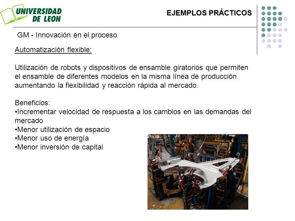 GM - Innovación en el proceso Automatización flexible: Utilización de robots y dispositivos de ensamble giratorios que permiten el ensamble de diferen