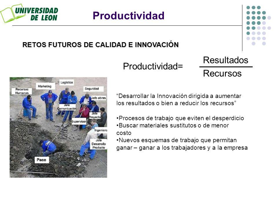 RETOS FUTUROS DE CALIDAD E INNOVACIÓN Productividad Productividad= Resultados Recursos Desarrollar la Innovación dirigida a aumentar los resultados o
