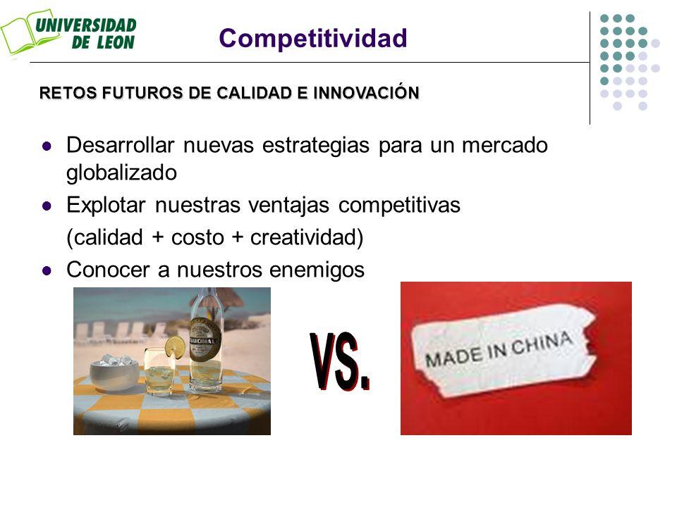 RETOS FUTUROS DE CALIDAD E INNOVACIÓN Competitividad Desarrollar nuevas estrategias para un mercado globalizado Explotar nuestras ventajas competitiva