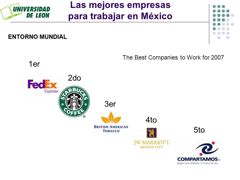 Las mejores empresas para trabajar en México 1er 2do 3er 4to 5to ENTORNO MUNDIAL The Best Companies to Work for 2007
