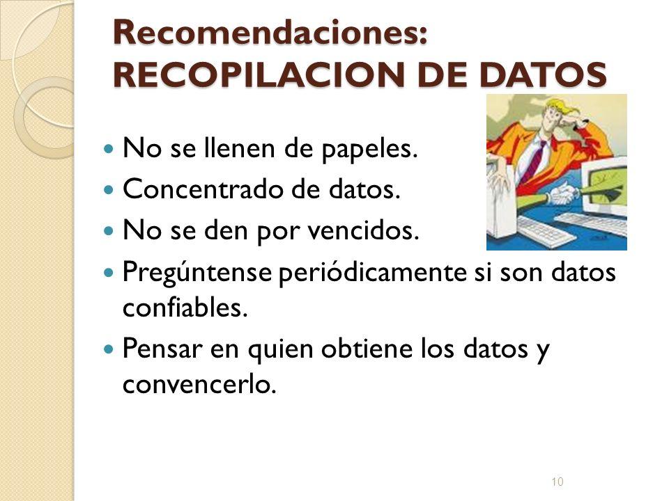 Recomendaciones: RECOPILACION DE DATOS No se llenen de papeles. Concentrado de datos. No se den por vencidos. Pregúntense periódicamente si son datos