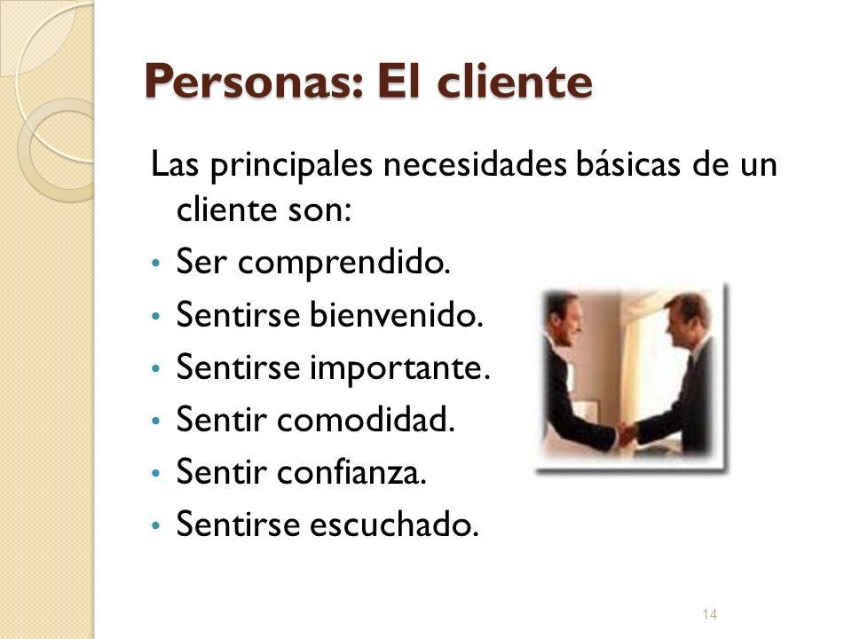 Personas: El cliente Las principales necesidades básicas de un cliente son: Ser comprendido. Sentirse bienvenido. Sentirse importante. Sentir comodida