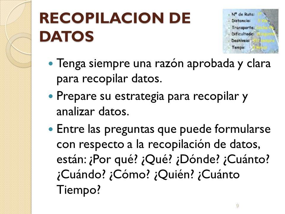 RECOPILACION DE DATOS Tenga siempre una razón aprobada y clara para recopilar datos. Prepare su estrategia para recopilar y analizar datos. Entre las