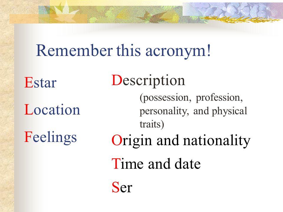 SER You CANNOT use un or una with SER when describing someones profession. Yo soy profesora. Tú eres estudiante.