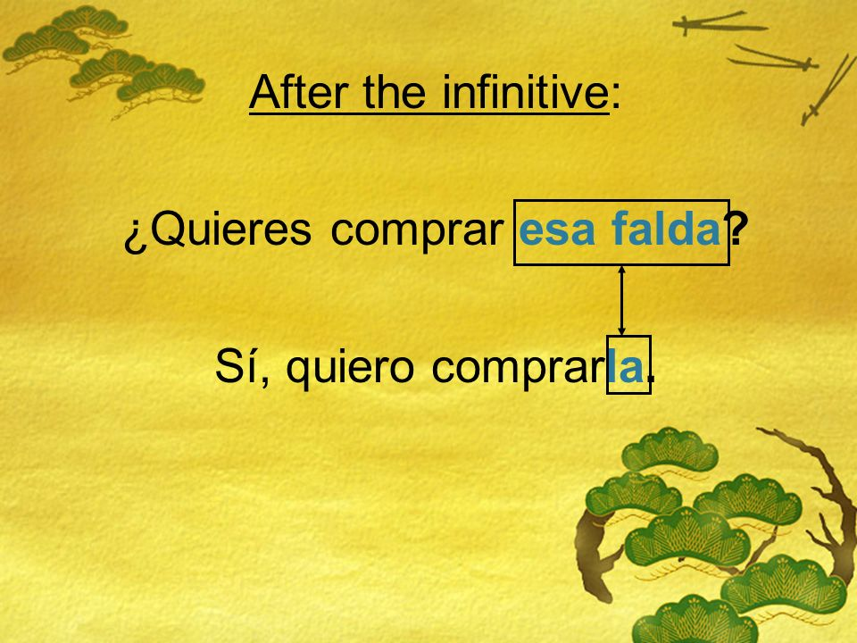 Before the verb or after the infinitive: Before the verb: ¿Quieres comprar esa falda.