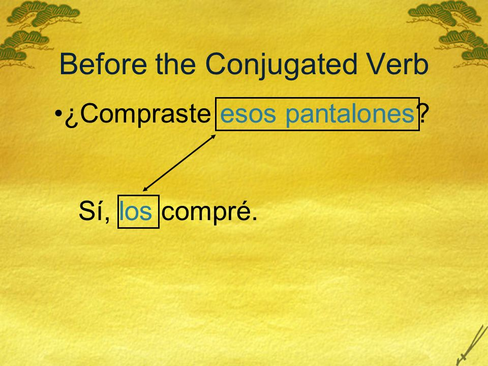 Before the Conjugated Verb ¿Compraste esos pantalones? Sí, los compré.