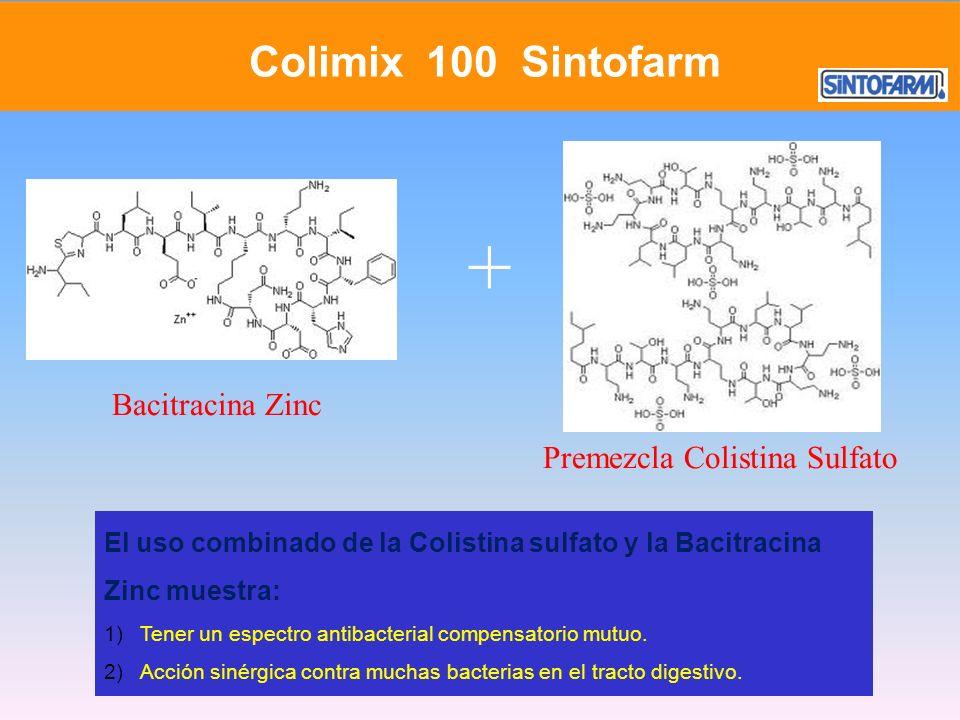 El uso combinado de la Colistina sulfato y la Bacitracina Zinc muestra: 1)Tener un espectro antibacterial compensatorio mutuo.Tener un espectro antiba