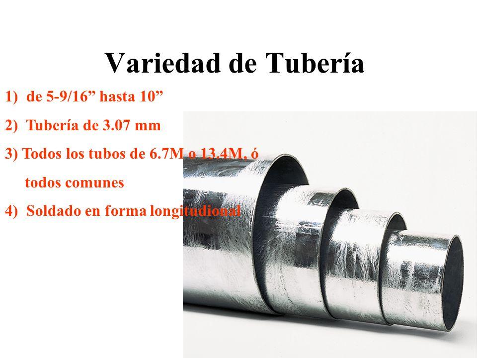 Variedad de Tubería 1) de 5-9/16 hasta 10 2) Tubería de 3.07 mm 3) Todos los tubos de 6.7M o 13.4M, ó todos comunes 4) Soldado en forma longitudional