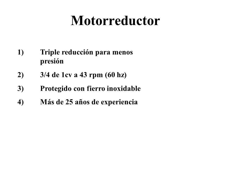 Motorreductor 1)Triple reducción para menos presión 2)3/4 de 1cv a 43 rpm (60 hz) 3)Protegido con fierro inoxidable 4)Más de 25 años de experiencia