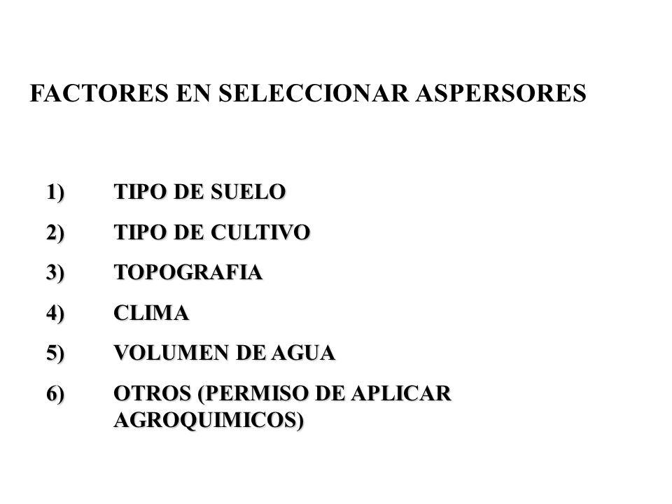 FACTORES EN SELECCIONAR ASPERSORES 1)TIPO DE SUELO 2)TIPO DE CULTIVO 3)TOPOGRAFIA 4)CLIMA 5)VOLUMEN DE AGUA 6)OTROS (PERMISO DE APLICAR AGROQUIMICOS)