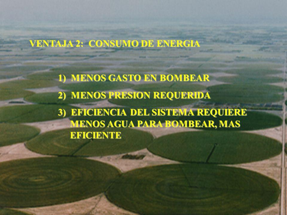 VENTAJA 2: CONSUMO DE ENERGIA 1) MENOS GASTO EN BOMBEAR 2) MENOS PRESION REQUERIDA 3) EFICIENCIA DEL SISTEMA REQUIERE MENOS AGUA PARA BOMBEAR, MAS EFI