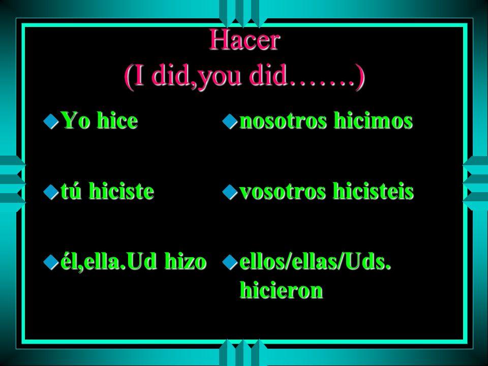 IR (I went, you went…) u yo fui u tú fuiste u él/ella/Ud. fue u nosotros fuimos u vosotros fuisteis u ellos/ellas/Uds. fueron