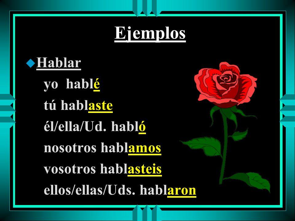 Ejemplos u Hablar yo hablé tú hablaste él/ella/Ud.