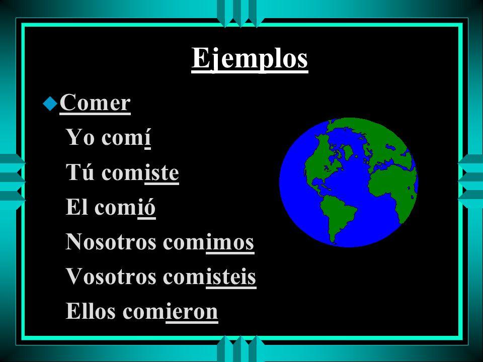 Ejemplos u Hablar yo hablé tú hablaste él/ella/Ud. habló nosotros hablamos vosotros hablasteis ellos/ellas/Uds. hablaron