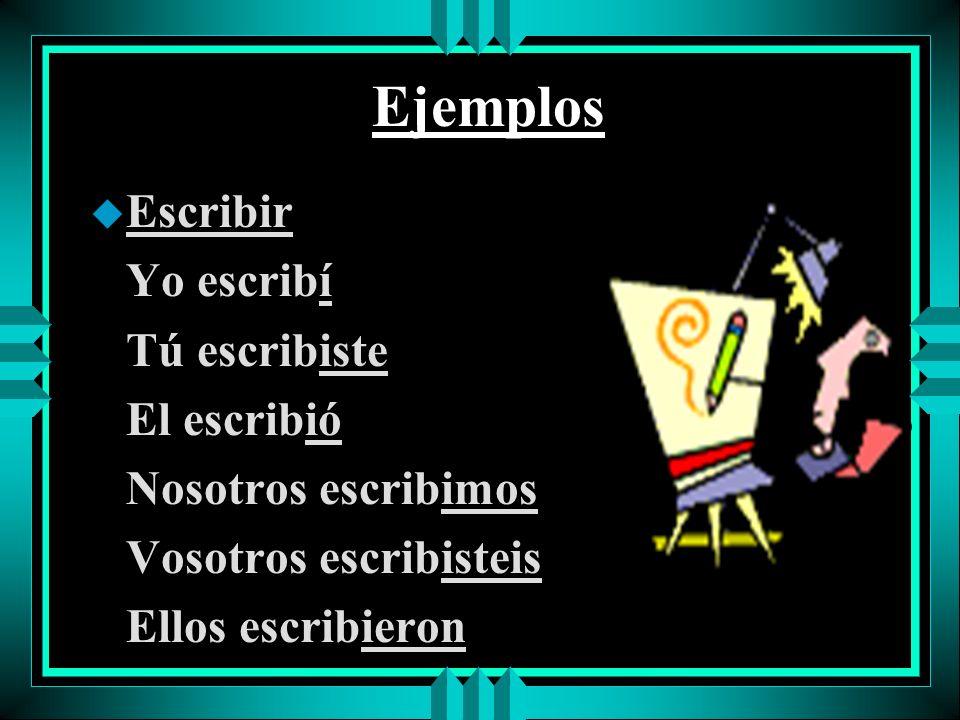 Ejemplos u Escribir Yo escribí Tú escribiste El escribió Nosotros escribimos Vosotros escribisteis Ellos escribieron