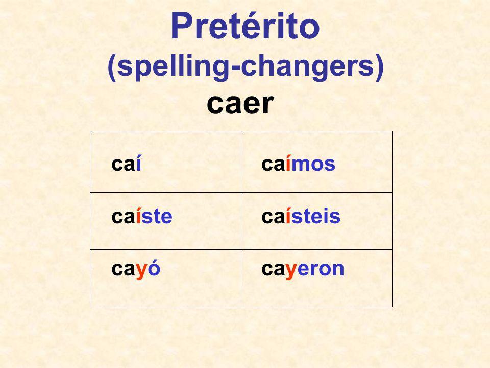 Pretérito (spelling-changers) Verbos que terminan en -car, -gar y -zar –Solamente en la primera persona singular –Buscar = busqué –Jugar = jugué –Empezar = empecé Caer, leer, oír