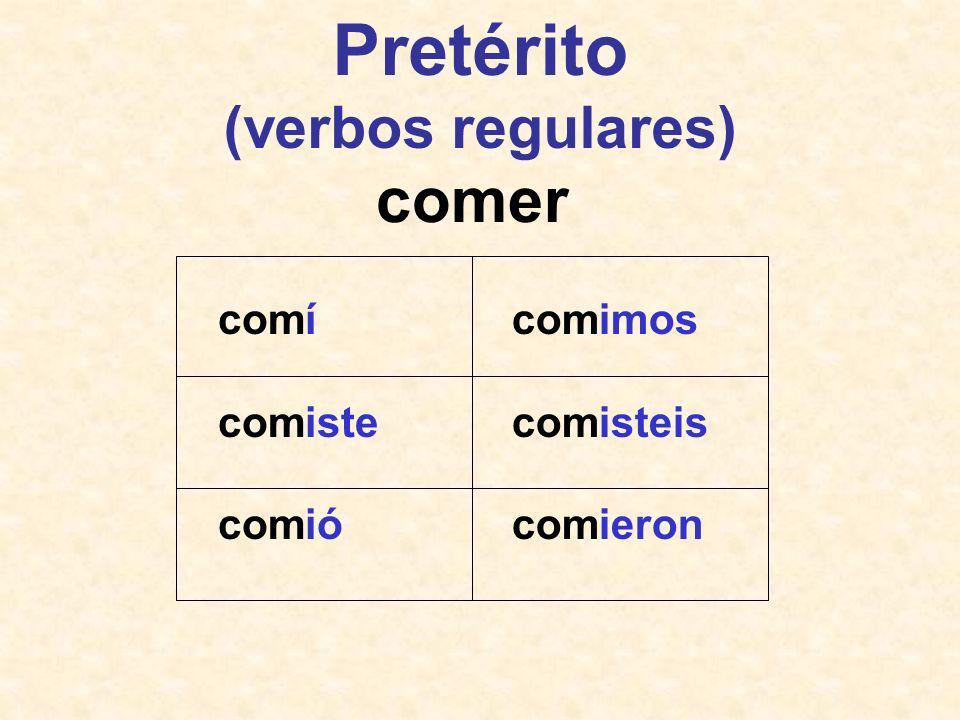 -í -iste -ió -imos -isteis -ieron -er-, -ir- Pretérito (verbos regulares)