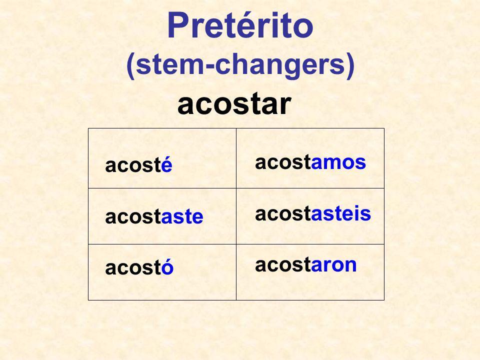 acosté acostaste acostó acostamos acostasteis acostaron acostar Pretérito (stem-changers)