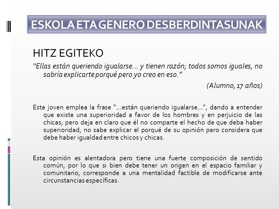 ESKOLA ETA GENERO DESBERDINTASUNAK HITZ EGITEKO Las mujeres podemos razonar igual que el varón, tenemos iguales derechos aunque no se ejercen.