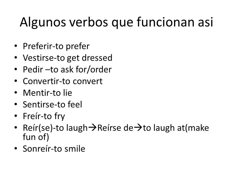 Los verbos –ir Los verbos –ir que tienen cambio de e en la raíz(verbos de bota) en el presente VAN a tener un cambio en el pretérito. Pedir Pidopedimo