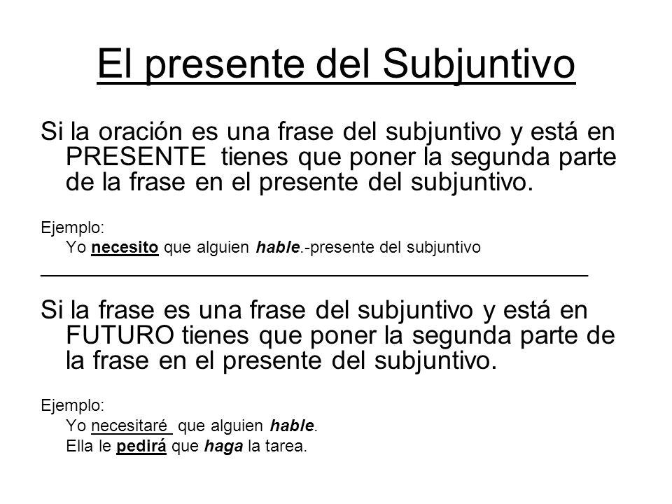 El Presente del subjuntivo Las terminaciones: –er/-ir-ar -a-amos -e -emos -as-áis-es -éis -a-an -e -en Se forma usando las reglasWeirdo