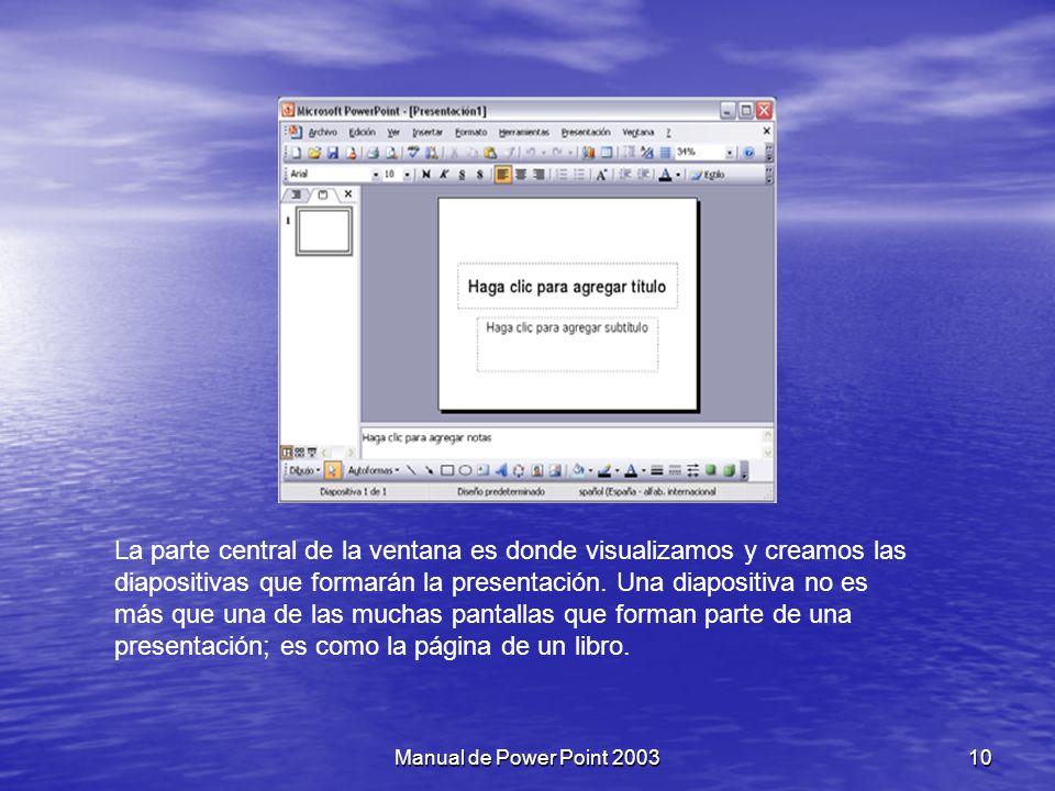 Capítulo III: La pantalla inicial Al iniciar Power Point aparece una pantalla inicial como la que a continuación mostramos.