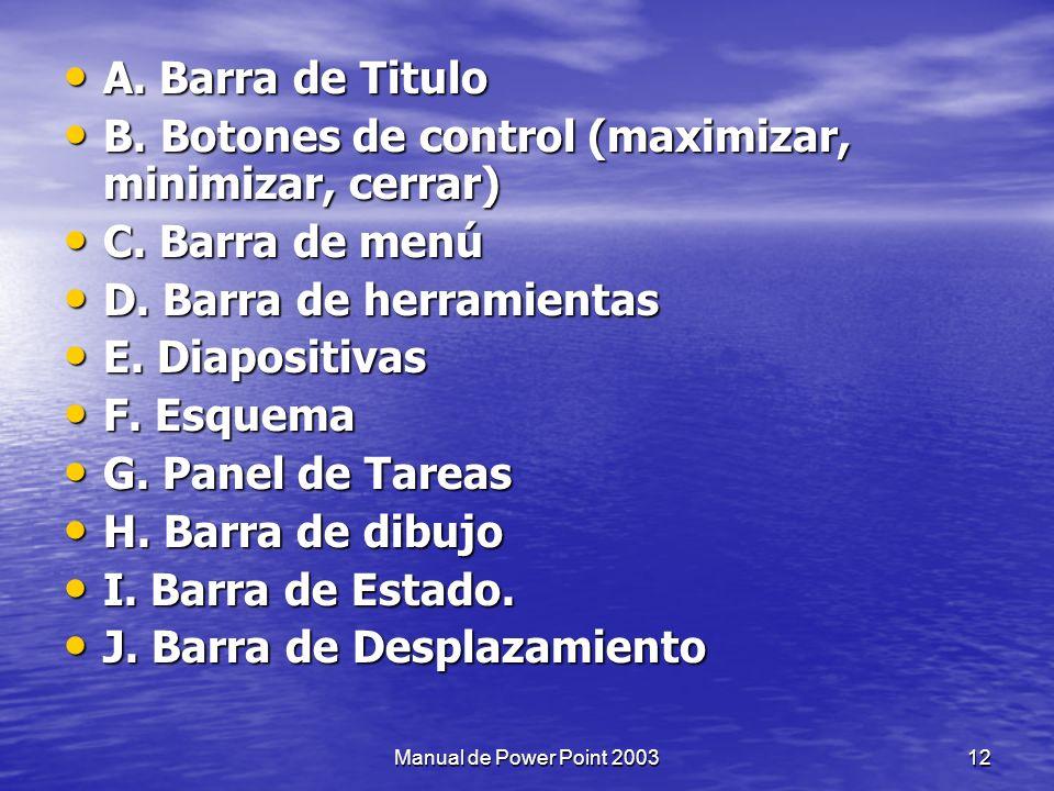 La ventana principal de Power Point se divide de la siguiente manera: 11Manual de Power Point 2003