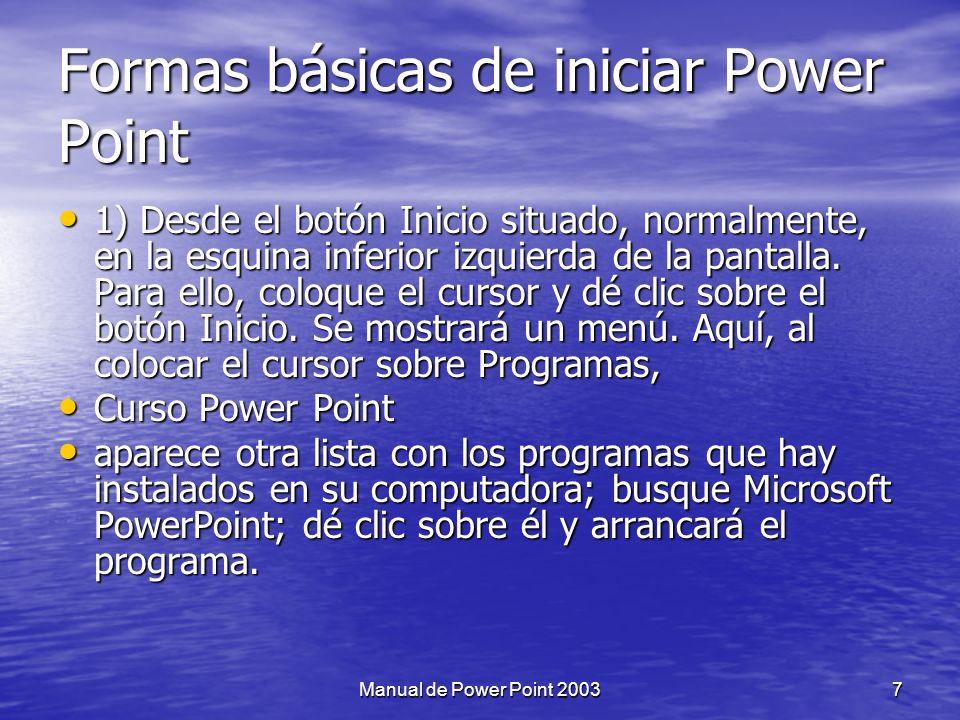 Capítulo II: Iniciar Power Point 6Manual de Power Point 2003