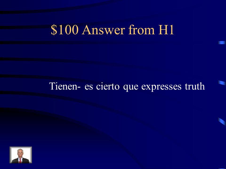$100 Answer from H5 Fuera donaría