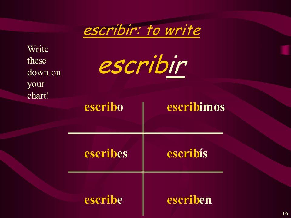 15 Beber: to drink beber beb o es e emos éis en Write these down on your chart!