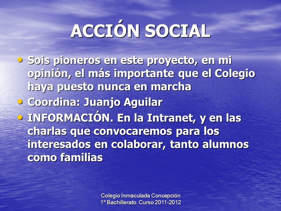 Colegio Inmaculada Concepción 1º Bachillerato. Curso 2011-2012 ACCIÓN SOCIAL Sois pioneros en este proyecto, en mi opinión, el más importante que el C