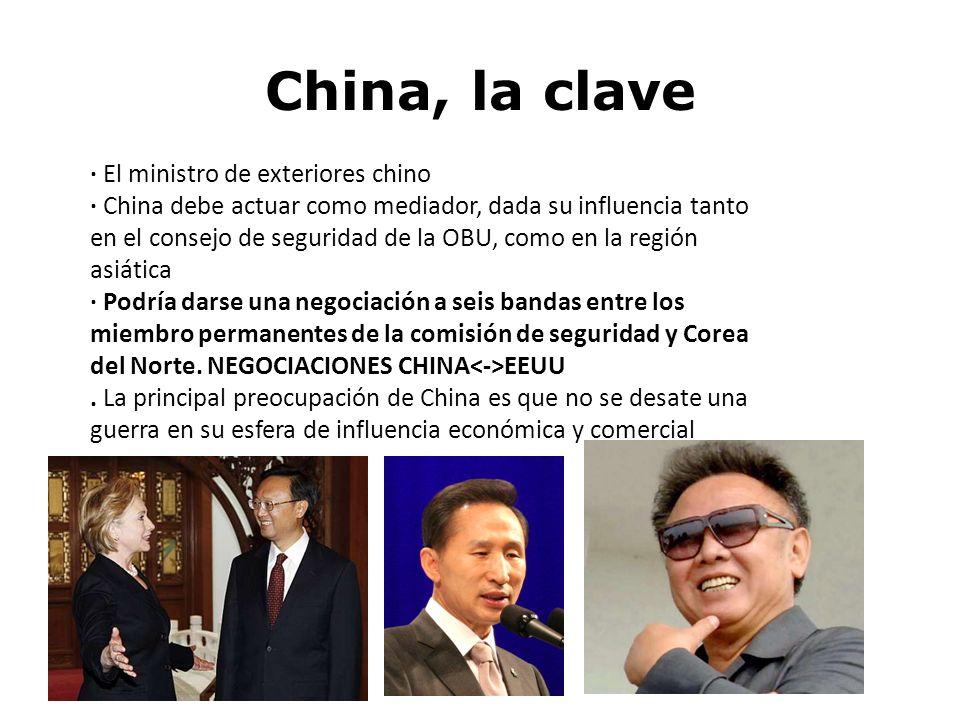 China, la clave · El ministro de exteriores chino · China debe actuar como mediador, dada su influencia tanto en el consejo de seguridad de la OBU, co