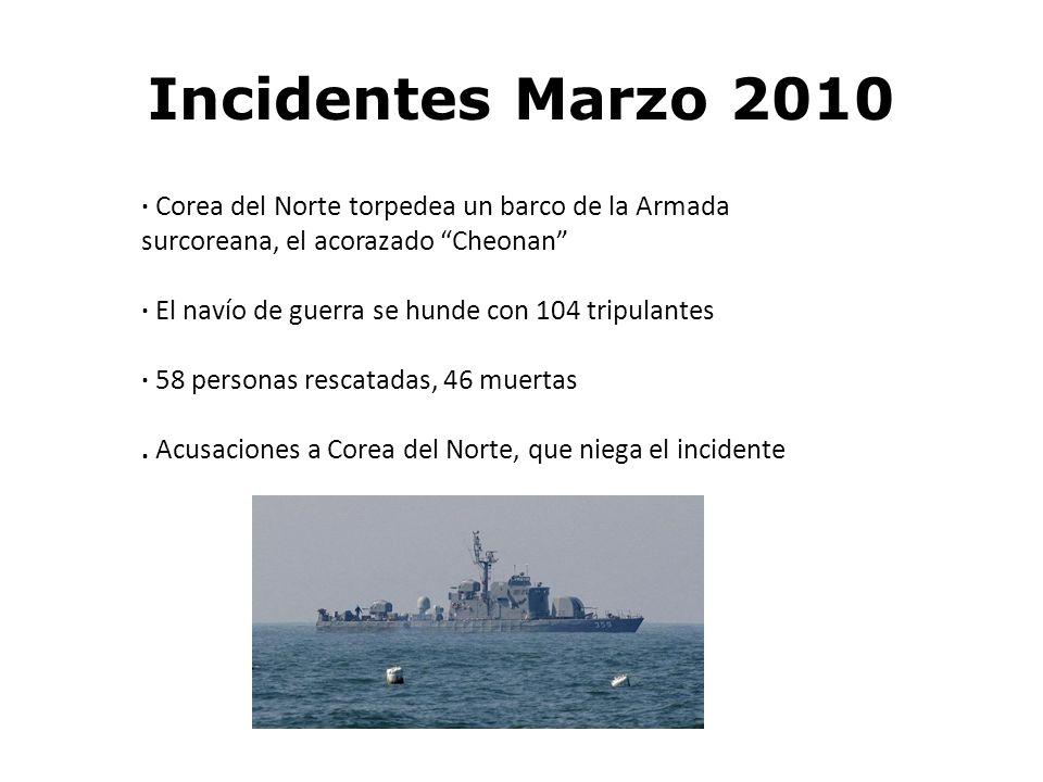 Incidentes Marzo 2010 · Corea del Norte torpedea un barco de la Armada surcoreana, el acorazado Cheonan · El navío de guerra se hunde con 104 tripulan