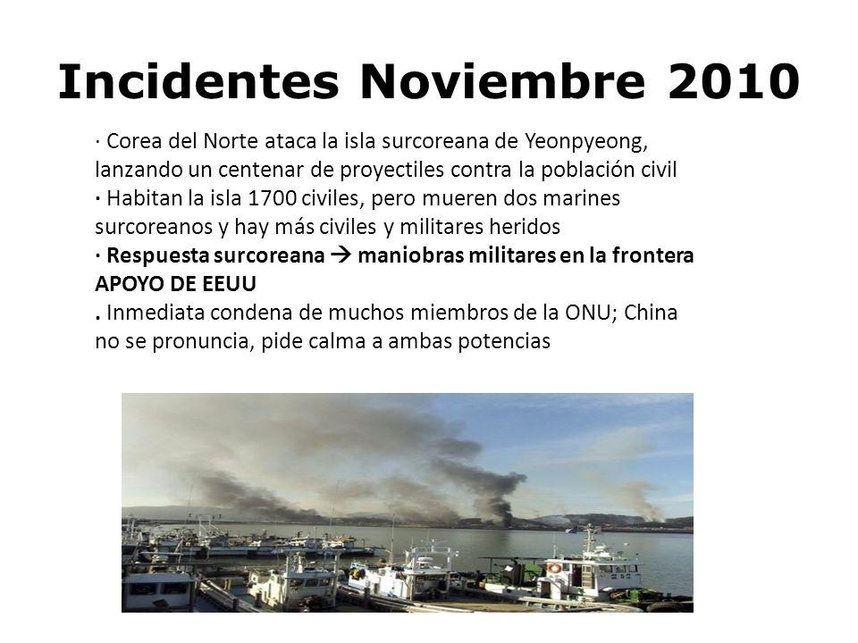 Incidentes Noviembre 2010 · Corea del Norte ataca la isla surcoreana de Yeonpyeong, lanzando un centenar de proyectiles contra la población civil · Ha