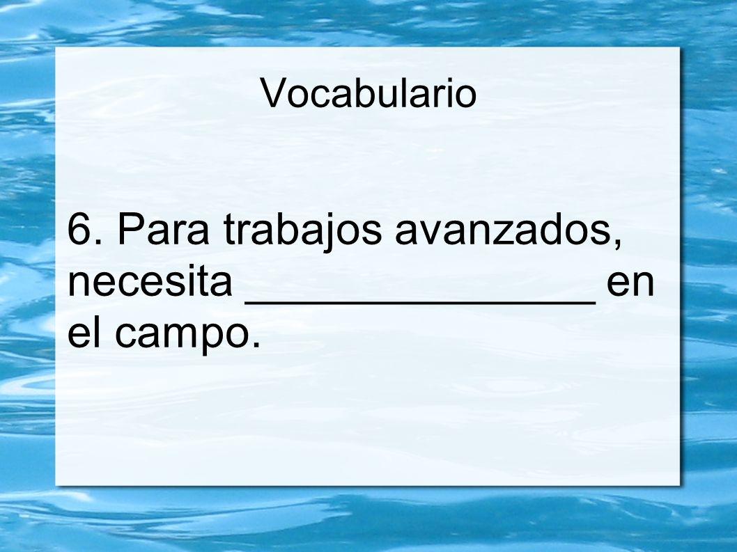 Vocabulario 6. Para trabajos avanzados, necesita ______________ en el campo.