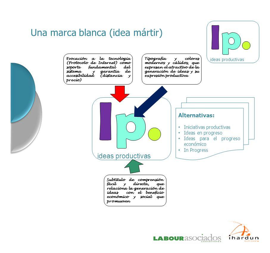 Una marca blanca (idea mártir) Evocación a la tecnología (Protocolo de Internet) como soporte fundamental del sistema y garantia de accesibilidad (dis