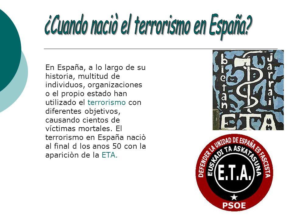 En España, a lo largo de su historia, multitud de individuos, organizaciones o el propio estado han utilizado el terrorismo con diferentes objetivos,